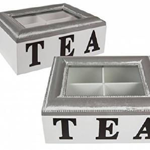 OOTB Holz-Teebox, Weiß, 20 x 15 x 7 cm