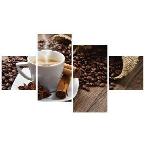 Home affaire Glasbild »Istantilli: Kaffeetasse und Leinensack auf Tisch » (4-tlg.)
