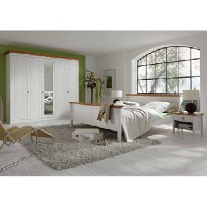 Landhaus Schlafzimmer in Weiß Bernsteinfarben Pinie Massivholz (4-teilig)