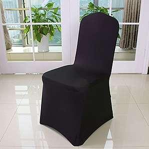 4er Auralum® 2 Jahre Garantie Elegant Elasthan Bügelfrei Stretchhusse Stuhlhusse Stuhlüberzug Husse (Schwarz)