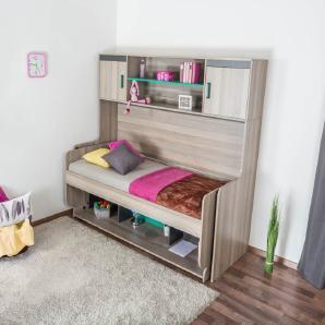 Kinderbett / Jugendbett mit Schreibtisch Funktion, Ablage und Aufsatz Marcel 19, Farbe: Esche Türkis / Grau / Braun - Liegefläche: 90 x 200 cm (B x L)