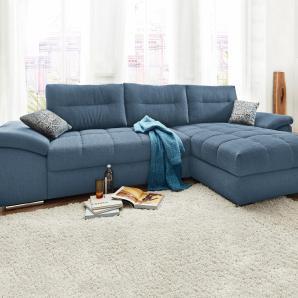 Ecksofa blau, Ottomane links/rechts montierbar, FSC®-zertifiziert,