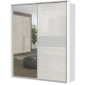 Schwebetürenschrank / Kleiderschrank Lepa 07, Farbe: Weiß - Abmessungen: 225 x 188 x 64 cm (H x B x T)