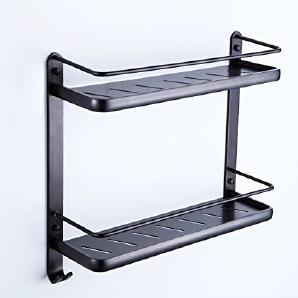 TougMoo Bad - Platz Zum Aufhängen Von Aluminium Bad Regal Bad Europäischen Stil Schwarz Handtuchhalter Zwei Badezimmer Hardware,Dunklen Regal - 1103