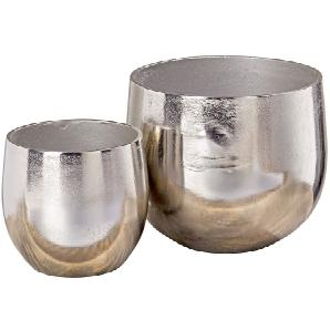 Pflanztopf Flaire (2er-Set) - Aluminium - Silber, loftscape