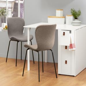 Stuhl mit gepolsterter Sitzschale und Metallbeinen