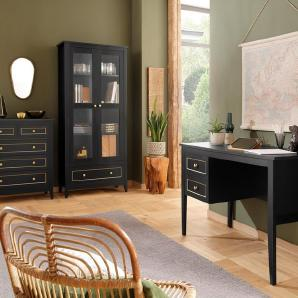 Home affaire Vitrine »Victoria«, mit 2 Glastüren und 1 Schublade mit goldener Umrandung, Höhe 183 cm, schwarz