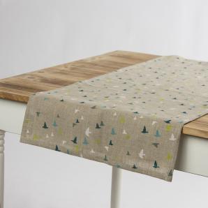Schöner Leben Leinen-Tischläufer Vögel natur blau grün weiß 40x160cm
