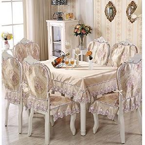 HYSENM Stuhlbezug Stuhlhussen Tischdecke mit Blume-Muster Spitze 100% Polyester modern elegant für Wohnzimmer, Violett 2 x Stuhlhussen (Rückenbezug+ Sitzbezug)