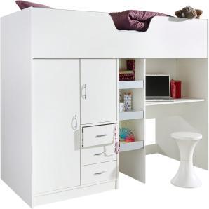 Hochbett, B/T/H 203/94/150 cm, Liegefläche 90/200 cm, weiß, inkl. Kleiderschrank, Schreibtisch und Kommode