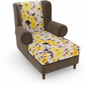 Max Winzer Landhaus build-a-chair XXL Ohrensessel, gelb, Füße: Nussbaumfarben, Korpus: Samtvelours sahara »Madeleine«, FSC®-zertifiziert