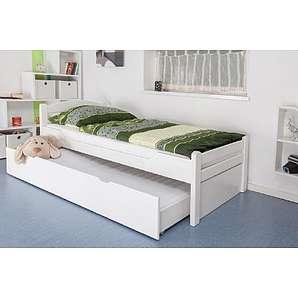 Bettgestell / Gästebett Easy Sleep K1/2h inkl. 2. Liegeplatz und 2 Abdeckblenden, 90 x 200 cm Buche Vollholz massiv weiß lackiert