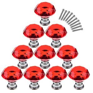 Lommer Möbelknopf Kristall 10 Pcs 3CM Diamant-Form Glas Möbelknöpfe, Möbelgriff Vintage Kinder Knopf Schrankgriffe Griffe für Schränke Schublade Kleiderschrank und Andere Möbel (Rot)
