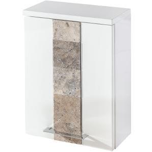 Hängeschrank Stone - Hochglanz Weiß / Granit, Schildmeyer