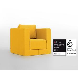Verwandlungssessel Q6 mit Schlaffunktion,  bequemer Sessel, Lounge-Möbel, Liege, Gästebett, preisgekröntes Design Schlafsessel
