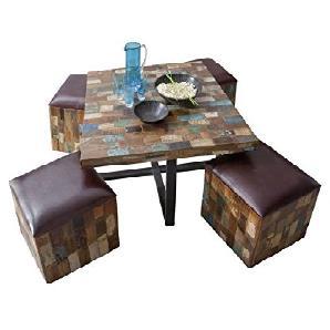 Massivholz Leder Altholz Möbel Holz Vintage lackiert Sitzgruppe Massivmöbel massiv Holz mehrfarbig Detroit #13