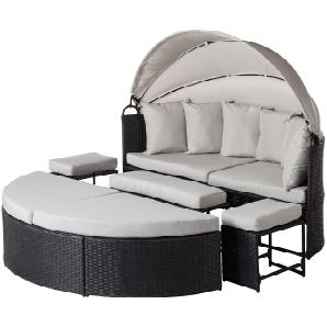 Sonneninsel Paradise Lounge - Webstoff / Polyrattan - Grau, Fredriks