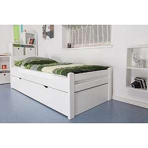 Tagesbett / Gästebett Easy Sleep K1/2h inkl. 2. Liegeplatz und 2 Abdeckblenden, 90 x 200 cm Buche Vollholz massiv weiß lackiert