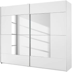 Schwebetürenschrank Crato - Alpinweiß / Spiegelglas - 175 cm (2-türig), Rauch Packs