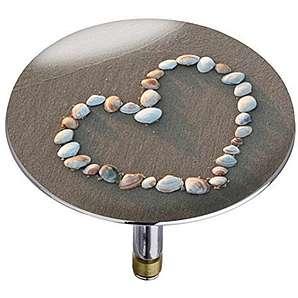 Wenko 21842100 Badewannenstöpsel Pluggy XXL Shell heart, Abfluss-Stopfen, für alle handelsüblichen Abflüsse, Kunststoff, 7,5cm x 7,5cm x 6cm, mehrfarbig