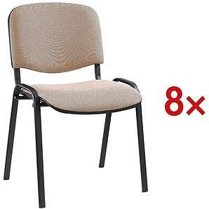 Nowy Styl 8er-Set Stapelstühle schwarzes Gestell 1 Set