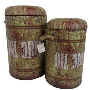 Viscio Trading Vintage C & L Puff Blech rund 2Stück, Kunstleder, mehrfarbig, 32x 32x 49cm, 2Einheiten