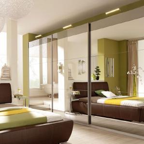 Rauch SELECT Schwebetürenschrank beige, mit Spiegel, oben und unten Grauspiegelstreifen, Breite 270cm