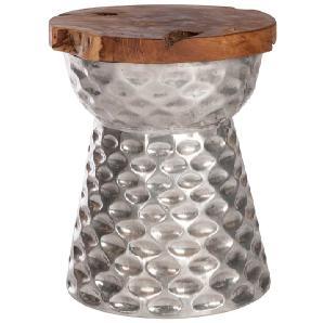 Design Hocker  aus Teakholz und Aluminium  Industrie
