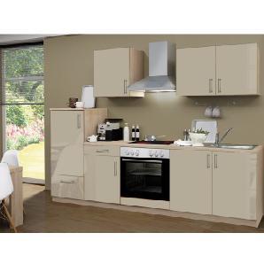 Menke Küchenzeile Premium 270  cm Sahara Hochglanz-Sonoma Eiche Nachbildung