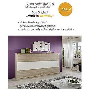 Querbett TIMON Schrankbett Foldaway Bed Horizontal 90x200cm in der Farbe Eiche Sonoma (mit Federkernmatratze)