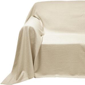 Sessel- und Sofaüberwurf, weiß, Gr. ca. 160/270 cm,  home, 100% Baumwolle