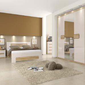 Schlafzimmer Komplett - Set A Satalo, 5-teilig, Farbe: Eiche Braun / Creme Hochglanz