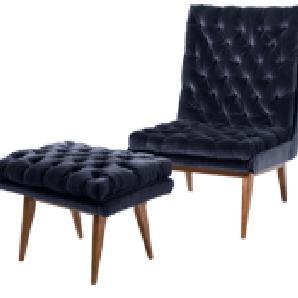 Spectre Sessel mit Hocker, Samt in Navyblau
