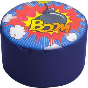 Polsterhocker Dot Com Boom - Webstoff - Blau / Comic, SITTING POINT