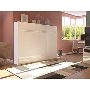 Schrankbett 140cm Horizontal Weiß Hochglanzfront SMARTBett Tonnentaschenmatratze 140x200 cm, ideal als Gästebett - Wandbett, Schrank mit integriertem Klappbett, Sideboard