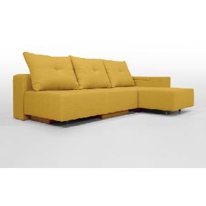 Modulsofa Set BonBon2 M Design-Sofa mit Doppelbett-Funktion, Moderner Webstoff, Gelb, Erweiterbar, flexibel zu stellen: Z.B.: als 2-Sitzer mit Recamiere oder als Ecksofa, Lehne mit mit Stauraum