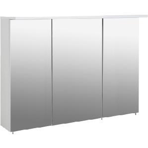 3-trg. Spiegelschrank in weiß Glanz, 6 Glasböden, Oberboden mit 2x LED-Beleuchtung im Alu-Gestell, Maße: B/H/T ca. 120,5/72,5/16-23,5 cm