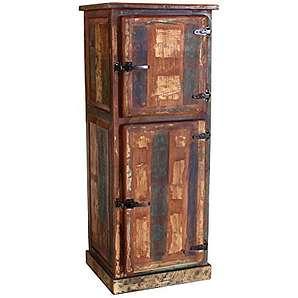 Bar-Schrank in Handarbeit aus Alt-Holz hergestellt mit 2 Türen und Kühlschrankgriffen 60x50x154 cm   Rivership   Bunter Hoch-Schrank lackiert mit starken Gebrauchsspuren im Shabby Chic-Look 2-türig 60cm x 50cm x 154cm