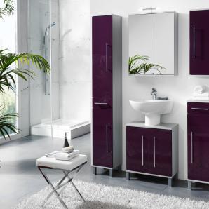 Badezimmer Brombeer Hochglanz/ Alufarben Mit Beleuchtung Kesper Elba Lila Mdf Modern