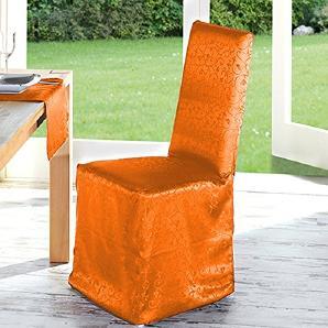 Heimtex Stuhlhusse Tafel Jacquard 42x46x100cm 100% Microfaser Öko-Tex Farbe Orange