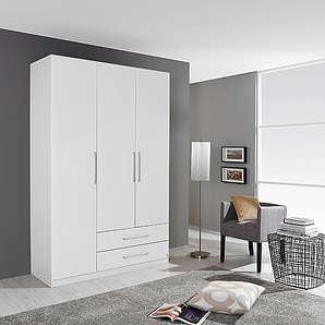 Drehtürenschrank in alpinweiß, 2 Schubkästen, 3 Türen, 2 Einlegeböden u. 2 Kleiderstangen, Maße: B/H/T ca. 136/197/54 cm