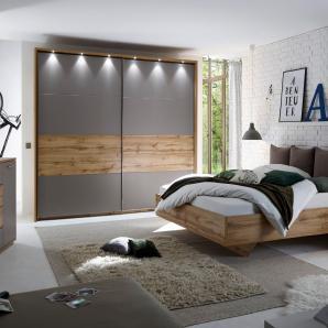 Schlafzimmerset In Wildeiche/ Basaltgrau Mit Beleuchtung  Schlafkontor Atled Holz Modern