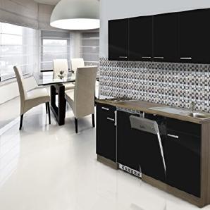 respekta Einbau Single Küche Küchenblock 195 cm Eiche York Nachbildung Schwarz