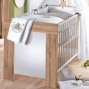 Babybett »Michi«, in eiche sägerau/ weiß matt