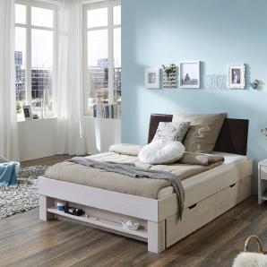 Futonbett mit Polsterkopfteil weiß, Liegefläche 90x200cm, »Julia«, mit Schubkästen, FSC®-zertifiziert, Relita