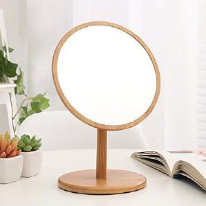 Holz- Desktop Spiegel Kosmetikspiegel, Bambus Spalte Embedded 19 * 28 Cm
