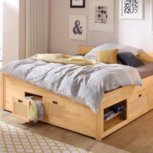 Home affaire Stauraumbett »Riga« beige, Liegefläche 180/200 cm, gelaugt/geölt, FSC®-zertifiziert