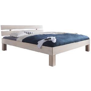 Futonbett Julia (optional Bettkästen) - Buche massiv - White Wash - 140 x 200cm - Kein Bettkasten, Relita