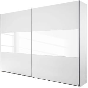 Schwebetürenschrank Loriga - Alpinweiß / Glas Weiß - 261 cm (2-türig), Rauch Packs