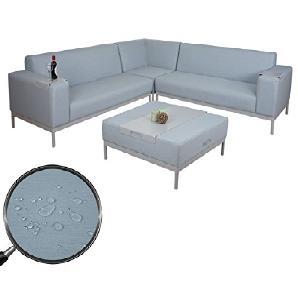 Ecksofa HWC-C47, Sofa Loungesofa Couch, Textil Indoor wasserabweisend ~ grau-blau mit Ablage